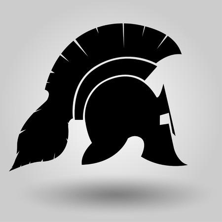legionary: Spartan Helmet silhouette, symbol of gladiator soldier or greek warrior or roman legionary, helmet hero sign, vector Illustration
