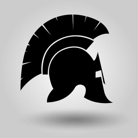 Spartan Helmet silhouette, symbol of gladiator soldier or greek warrior or roman legionary, helmet hero sign, vector Vettoriali
