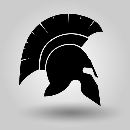 Spartan Helmet silhouette, symbol of gladiator soldier or greek warrior or roman legionary, helmet hero sign, vector Illustration