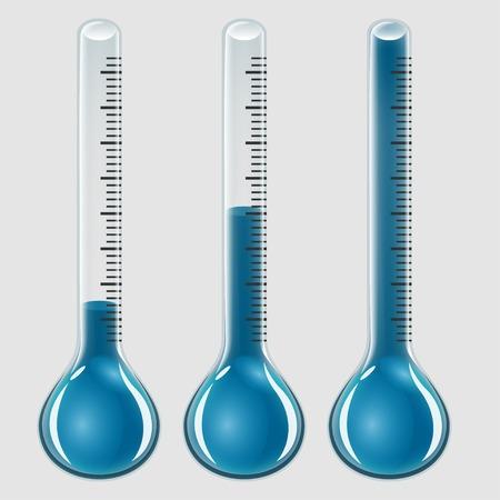 termómetro: Conjunto de termómetros de vidrio, artículos de vidrio indicadores de temperatura, el color azul y diferentes niveles, en el fondo transparente, vector