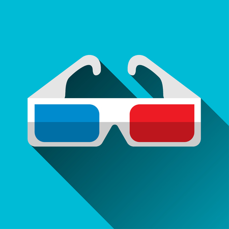 stereoscope: 3D glasses icon, flat design with long shadow, vector Illustration