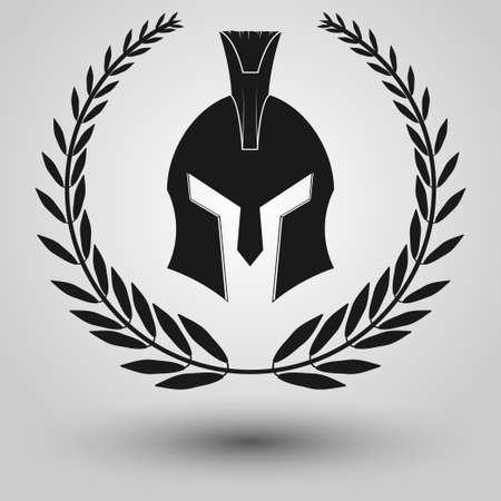 legionary: Spartan Helmet  full face silhouettes with laurel wreath, symbol of gladiator soldier or greek warrior or roman legionary, helmet hero sign, vector