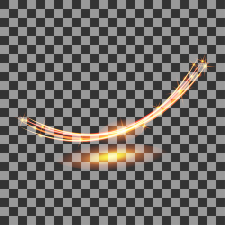 magic glowing swirl trail effect with sparks on transparent background, glitter wave, vector Иллюстрация