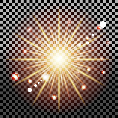 Shining sun or star, glowing light effect on transparent background, Star burst with sparkles and bokeh, sunlight special lens flare light effect, vector