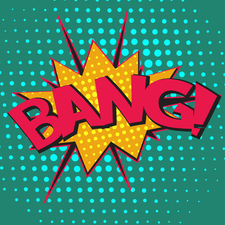 Pop art speech bubble with text Bang, Bang comic book speech bubble, colorful Bang speech bubble on a dots pattern backgrounds in pop-art retro style, vector Vektorové ilustrace