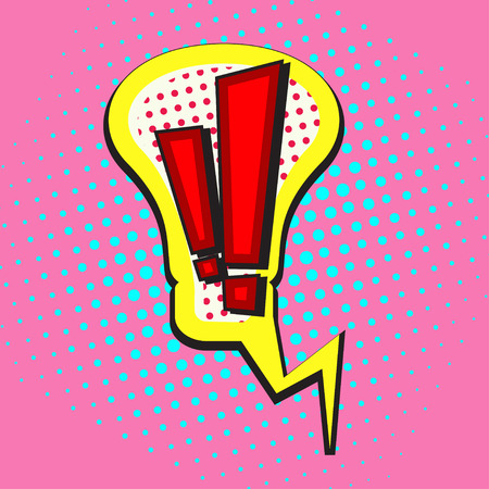 exclamation point: Pop art speech bubble in shape of lightbulb with Exclamation point, Idea comic book speech bubble, colorful speech bubble with Exclamation point on a dots pattern backgrounds in pop-art retro style, vector Illustration