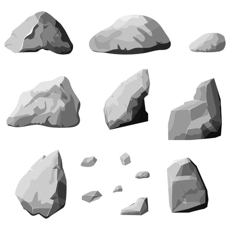 Set of stones, rock elements different shapes and shades of gray, cartoon style boulders set, flat design, isometric stones on white background, vector Ilustracja