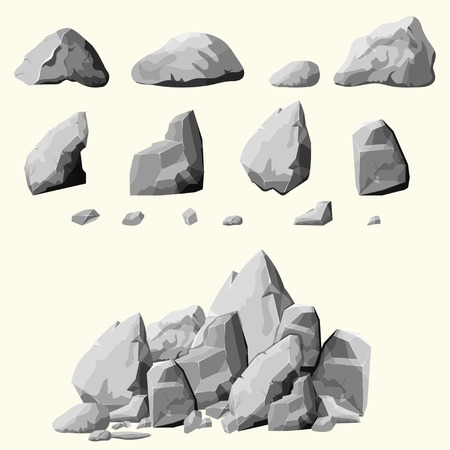 Set of stones, rock elements different shapes and shades of gray, cartoon style boulders set, flat design, isometric stones on white background, you can simply regroup rocks, vector Stock fotó - 55946790