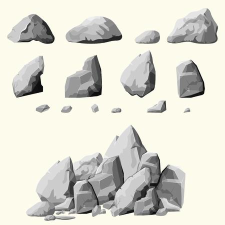 Zestaw kamieni, elementów skalnych różne kształty i odcienie szarości głazów, stylu cartoon zestaw, płaska, izometryczne kamienie na białym tle, można po prostu przegrupować skały, wektor Ilustracje wektorowe