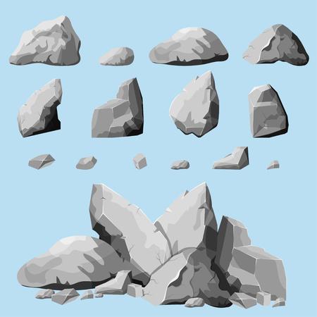 Conjunto de piedras, elementos de roca diferentes formas y tonos de cantos rodados, estilo de dibujos animados gris establecidos, diseño plano, piedras isométricas en el fondo blanco, sólo tiene que reagruparse rocas, vector