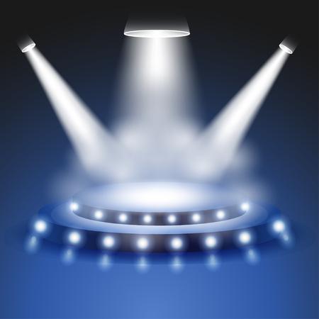 Escena con luz realista y efecto de humo, escenario o centro de atención podio, Mostrar escena proyector, proyector brillo en fondo transparente, focos de iluminación de escenarios, iluminación de la escena, vector