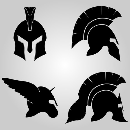 legionary: Spartan Helmets set,  full face and in profile silhouettes,  winged  helm with horn, symbol of gladiator soldier or greek warrior or roman legionary, helmet hero sign, vector