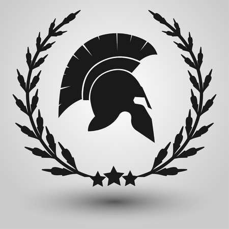 검투사 군인 또는 그리스어 전사 또는 로마 legionary, 헬멧 영웅 기호, 벡터의 월계관과 스파르타 헬멧 실루엣 월 러 화 환,