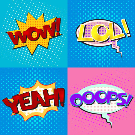 ooops: Pop art speech bubbles set with texts Wow Lol Yeah Ooops, comic book speech bubbles set, colorful speech bubbles set with texts on a dots pattern backgrounds in pop-art retro style, vector