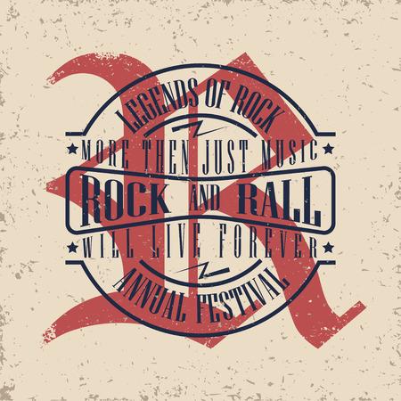 metal grunge: Grunge Monochrome Rock music print, hipster vintage label, graphic design with grunge effect, rock-music tee print stamp design. t-shirt print lettering artwork, vector Illustration