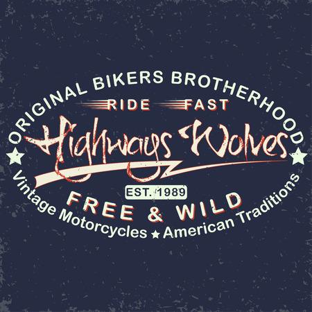 brotherhood: Grunge Motorcycle vintage graphics, Hot rods typography print, Biker T-shirt stamp, teeshirt graphic, vintage Motorcycle garage Emblem, grunge vintage emblem of the biker brotherhood, vector