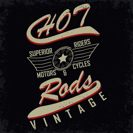 motor race: Grunge Motorcycle vintage grafiek, Hot Rods typografie print, Biker T-shirt stempel, t-shirt grafisch, vintage Motorcycle Emblem, vector