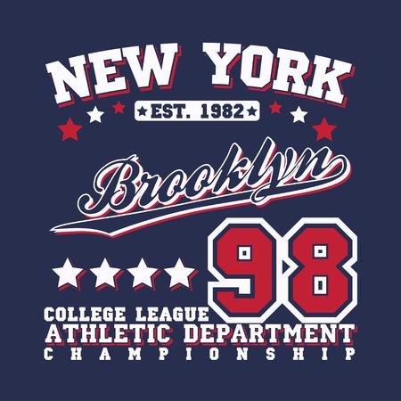 ny: Sport t-shirt graphic design,  Sport print stamp, New York sports wear typography emblem, Creative design, Vector