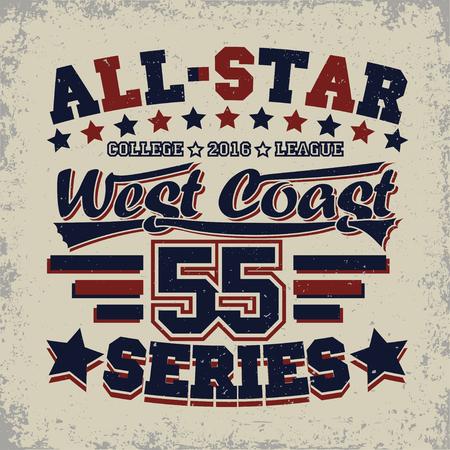 Grunge Sport t-shirt graphic design, grunge all-star league print stamp, vintage sport typography emblem, Creative design label, background, vector