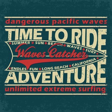 surfers: Grunge Surfing t-shirt graphic design,  grange surfing print stamp, California surfers wear typography emblem, Creative design, Vector