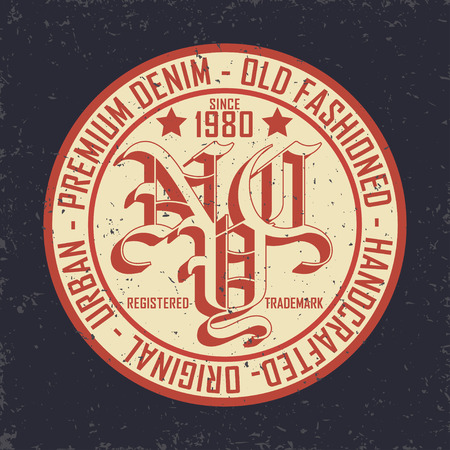 Vintage Denim typografie, grunge t-shirt graphics, vintage grunge Artwork kleding stempel, Vintage Denim slijtage tee print design, Denim goederen embleem, vector