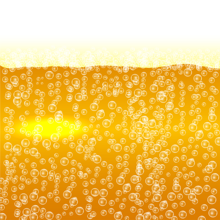 Beer with foam and bubbles background