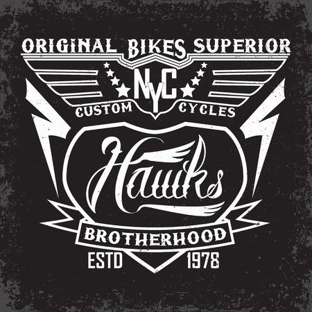 brotherhood: Teeshirt print design, bikers brotherhood emblem
