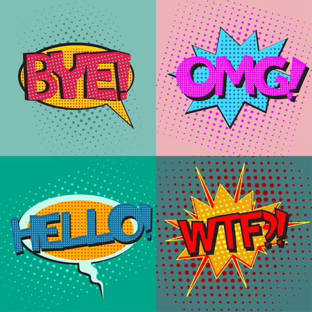 wtf: Pop art speech bubbles set with texts Bye OMG Hello WTF, comic book speech bubbles set, colorful speech bubbles set with texts on a dots pattern backgrounds in pop-art retro style