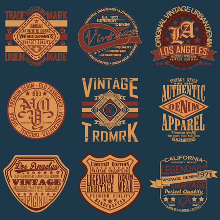 Set of Vintage typography, t-shirt graphics, apparel stamps, tee print design, vintage emblems of denim goods Ilustrace