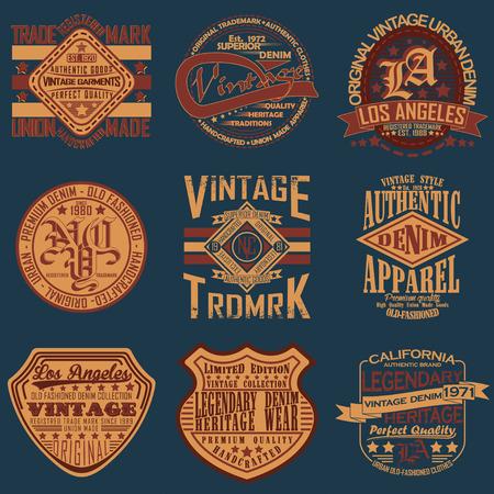 Set van vintage typografie, t-shirt graphics, zegels, t-shirt print design, vintage emblemen van denim goederen