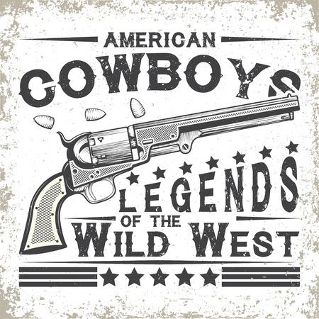 Vintage typografie, Wilde Westen t-shirt graphics, zegels, t-shirt print design, vintage cowboy embleem Stock Illustratie