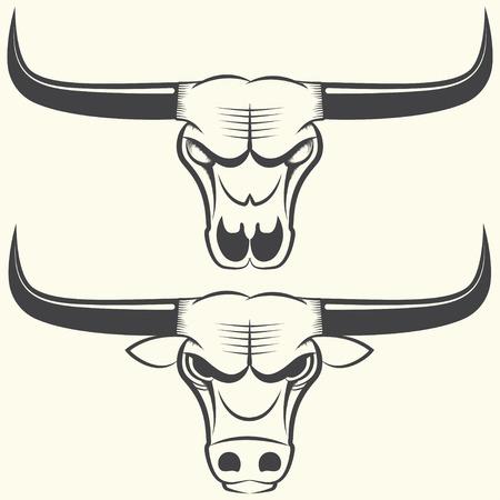bull pen: Bull s head and skull, line art sign or emblem, vector