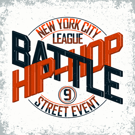 new york street: Vintage t-shirt graphic design,  grange print stamp, Hip Hop battle typography emblem, Creative design New York street event, Vector Illustration