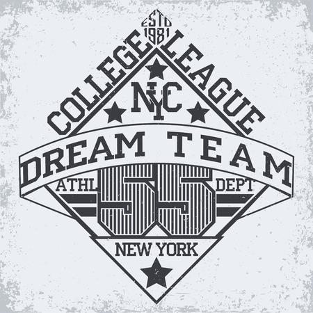 athletic wear: Grunge Sport t-shirt graphic design,  Vintage Sport print stamp, Sports wear typography emblem, Creative design, Vector