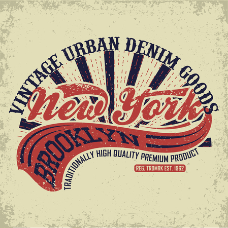 denim wear: Vintage Denim  typography, grunge  t-shirt graphics, vintage grunge Artwork apparel stamp, Vintage Denim  wear tee print design, New York Denim goods emblem, vector Illustration
