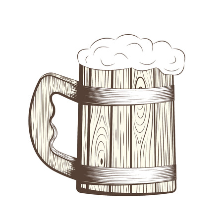 pint: Wooden beer mug with foam, line art pint, monochrome icon on white background, vector