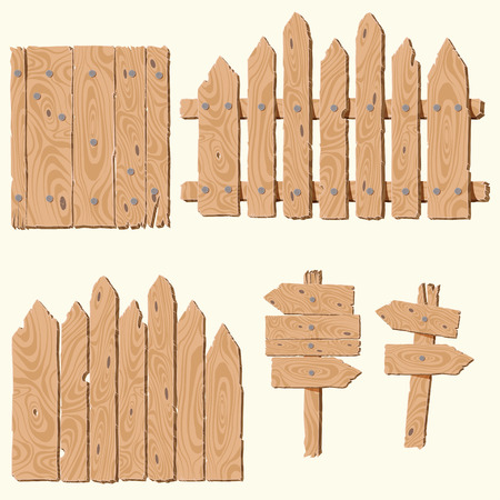 Set of empty, blank wooden planks or boards, guidepost, fence, with cracks and knots and with nails, you can simply regrouped elements depends on your needs,vector