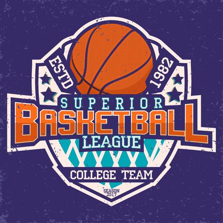 league: Vintage t-shirt graphic design,  grange print stamp, basketball typography emblem, sports Creative design, Vector