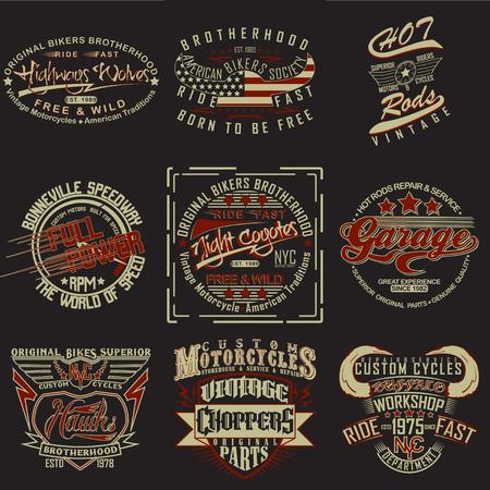 set of  t-shirt graphic designs,  vintage print stamps, typography emblems of garage or brotherhoods bikers, Creative design, Vector