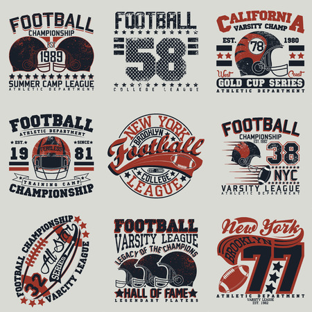 Set of Grunge Sport t-shirt graphic designs,  Vintage Sport print stamps, Sports wear typography emblems, Creative design, Vector