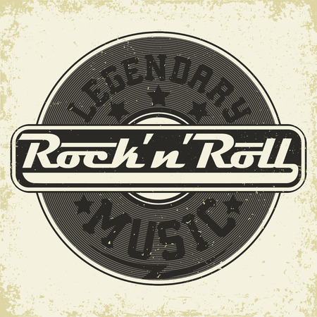Grunge Monochrome Rock print, hipster vintage etiket, grafisch ontwerp met grunge effect, rock-muziek tee afdruk stempel design. t-shirt printen belettering kunstwerk, vector