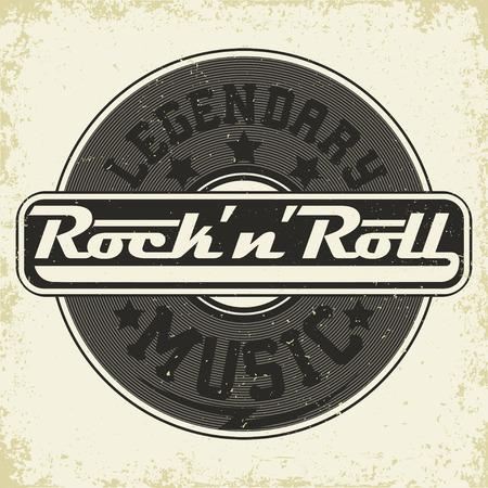 Grunge Monochrome Rock music print, hipster vintage label, graphic design with grunge effect, rock-music tee print stamp design. t-shirt print lettering artwork, vector Illustration