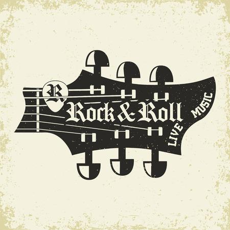 Grunge Monochrome Rock music print, hipster vintage label, graphic design with grunge effect, rock-music tee print stamp design. t-shirt print lettering artwork, vector Vetores