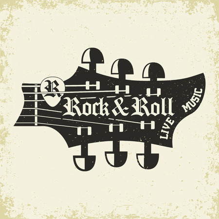Grunge Monochrome Rock music print, hipster vintage label, graphic design with grunge effect, rock-music tee print stamp design. t-shirt print lettering artwork, vector Vettoriali