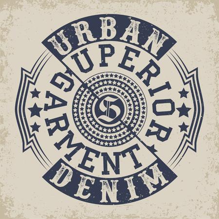 Vintage Denim typography, grunge t-shirt graphics, vintage grunge Artwork apparel stamp, Vintage Denim wear tee print design, Denim goods emblem, vector