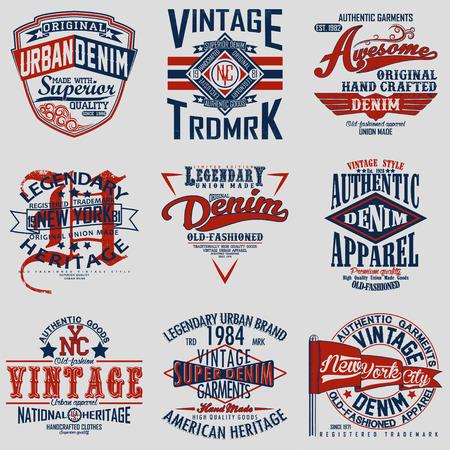 classic art: Set of Vintage typography, t-shirt graphics, apparel stamps, tee print design, vintage emblems of denim goods, vector