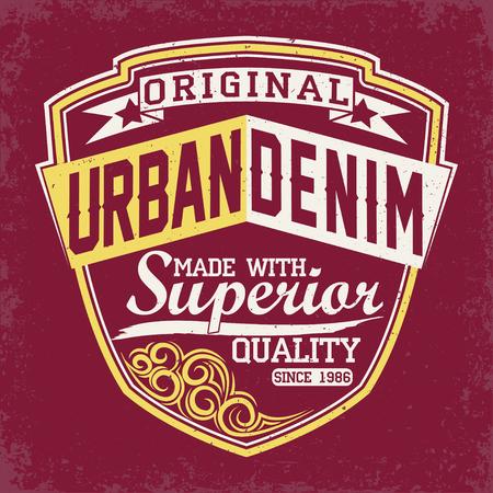 denim wear: Vintage Denim  typography, grunge  t-shirt graphics, vintage grunge Artwork apparel stamp, Vintage Denim  wear tee print design,  Denim goods emblem, vector
