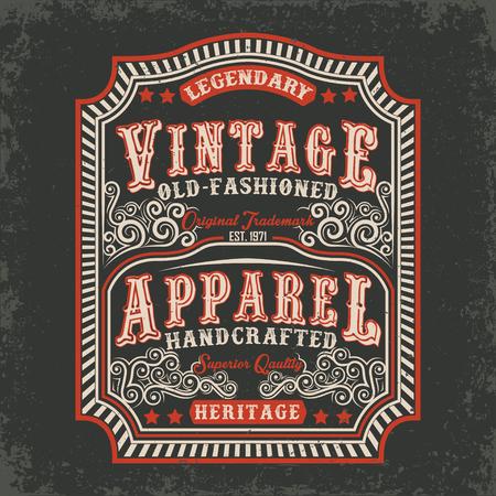 vintage label de vieux vêtements faits à la main, la conception T-shirt imprimé, vecteur