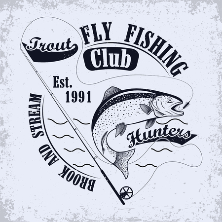 Fishing club emblem, Spinning for fly fishing and jumping trout, grunge monochrome  print,  vintage label, graphic design with grunge effect, fishing club tee shirt print stamp design, vector Stock Illustratie
