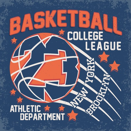 Vintage t-shirt graphic design,  grange print stamp, basketball typography emblem, sports logo Creative design, Vector Stock Illustratie